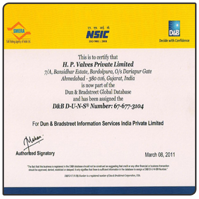 HP Valve DNB Certified Company