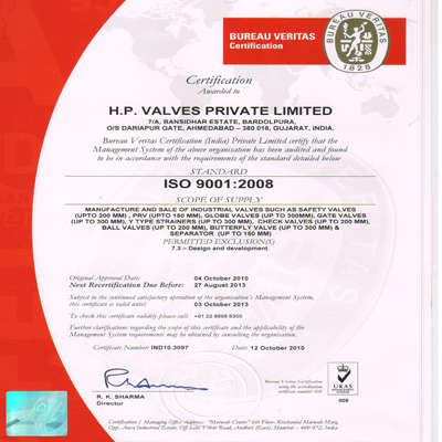 HP Valve Iso Certified Company